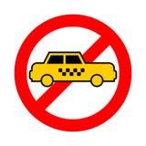 Ταξί στάσεων Κίτρινο αυτοκίνητο απαγόρευσης Κόκκινο απαγορευτικό σημάδι όχι απεικόνιση αποθεμάτων