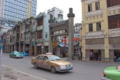 Ταξί στην κινεζική οδό Στοκ φωτογραφία με δικαίωμα ελεύθερης χρήσης
