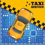 Ταξί στο σχέδιο πόλεων Στοκ φωτογραφία με δικαίωμα ελεύθερης χρήσης