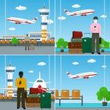 Ταξιδιώτες αέρα με τις ταξιδιωτικές ` s αποσκευές Στοκ εικόνες με δικαίωμα ελεύθερης χρήσης