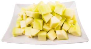 Ταξινομημένα δάγκωμα φρούτα δροσιάς μελιού σε ένα πιάτο VII Στοκ φωτογραφία με δικαίωμα ελεύθερης χρήσης