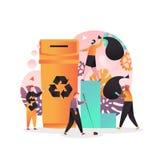 Ταξινόμηση αποβλήτων και έννοια ανακύκλωσης για το έμβλημα Ιστού, σελίδα ιστοχώρου διανυσματική απεικόνιση