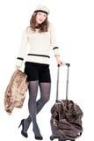 Ταξιδιωτική γυναίκα με μια τσάντα Στοκ εικόνα με δικαίωμα ελεύθερης χρήσης