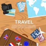 Ταξιδιωτικός υπολογιστής γραφείου διανυσματική απεικόνιση