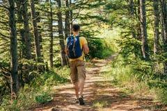 Ταξιδιωτικό άτομο στο δάσος Στοκ Εικόνα