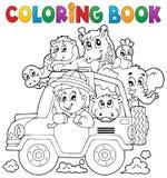Ταξιδιωτικό θέμα 2 αυτοκινήτων βιβλίων χρωματισμού απεικόνιση αποθεμάτων
