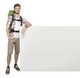 Ταξιδιώτης ατόμων με την κενή διαστημική αφίσα πινάκων Στοκ Εικόνες
