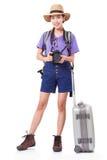 Ταξιδιώτης γυναικών με μια κάμερα Στοκ Φωτογραφία