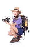 Ταξιδιώτης γυναικών με μια κάμερα Στοκ Εικόνες