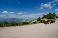 Ταξιδιώτης και αρσενικό ελάφι τρακτέρ στην ΑΜ Φούτζι σε Loei, Ταϊλάνδη Στοκ Εικόνες