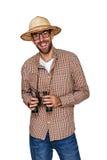 Ταξιδιώτης και εξερευνητής με τις διόπτρες και καπέλο που απομονώνεται πέρα από το μόριο στοκ εικόνες