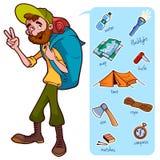 Ταξιδιώτης και στοιχεία για το πεζοπορώ και το στρατόπεδο διανυσματική απεικόνιση