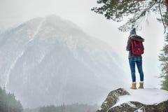 Ταξιδιώτης στο βράχο Στοκ εικόνες με δικαίωμα ελεύθερης χρήσης