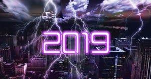 Ταπετσαρία 2019 αστραπής πόλεων στοκ εικόνες