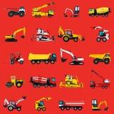 Ταπετσαρία με τα μηχανήματα κατασκευής που τίθενται στο κόκκινο Άλεσε το υπόβαθρο εργασιών διανυσματική απεικόνιση
