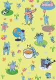 Ταπετσαρία με τις μπλε γάτες Στοκ Φωτογραφία