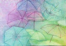 Ταπετσαρία ομπρελών - αφηρημένο υπόβαθρο - αρχική ζωγραφική Στοκ Εικόνες