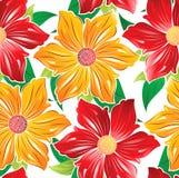 Ταπετσαρία των άνευ ραφής φανταχτερών λουλουδιών Στοκ Εικόνες