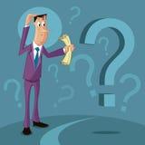 Ταραγμένο άτομο με το ερωτηματικό διανυσματική απεικόνιση