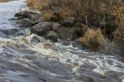 Ταραχώδης ροή και λίθοι ποταμών φθινοπώρου Στοκ Εικόνα