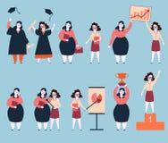 Ταχεία ανάπτυξη σταδιοδρομίας δύο φίλων γυναικών επιτυχία ελεύθερη απεικόνιση δικαιώματος