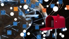 Ταχυδρομική θυρίδα και ψηφιακά app εικονίδια ελεύθερη απεικόνιση δικαιώματος