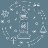 Ταχυδρομική θυρίδα Santa's, δώρα, κουδούνι, μελόψωμο απεικόνιση αποθεμάτων