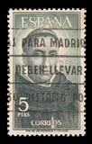 Ταχυδρομική σφραγίδα της Ισπανίας με το della Porta 28 Bartolommeo καλλιτεχνών 03 1472-06 10 1517 ειδικά ακυρωμένος στη Μαδρίτη στοκ εικόνες