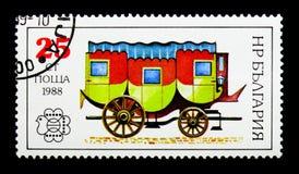 Ταχυδρομικό αυτοκίνητο αλόγων, διεθνές φεστιβάλ Βουλγαρία ` 89 Sofia γραμματοσήμων serie, circa 1988 Στοκ Εικόνα