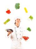 Ταχυδακτυλουργία μαγείρων με τα λαχανικά Στοκ φωτογραφία με δικαίωμα ελεύθερης χρήσης