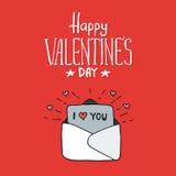 Ταχυδρομείο αγάπης με την κάρτα βαλεντίνων Απεικόνιση αποθεμάτων