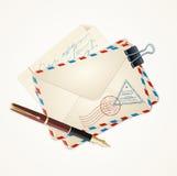 Ταχυδρομείο επιστολών και τρύγος μανδρών διάνυσμα ελεύθερη απεικόνιση δικαιώματος