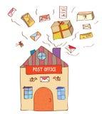Ταχυδρομείο με πολλά επιστολές και κιβώτια διανυσματική απεικόνιση