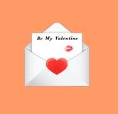 Ταχυδρομείο φακέλων ημέρας βαλεντίνων, κόκκινη καρδιά, επιστολή Στοκ Εικόνες