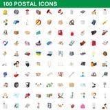 100 ταχυδρομικά εικονίδια καθορισμένα, ύφος κινούμενων σχεδίων Στοκ φωτογραφία με δικαίωμα ελεύθερης χρήσης