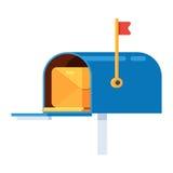 Ταχυδρομική θυρίδα με έναν φάκελο διανυσματική απεικόνιση