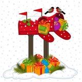 Ταχυδρομική θυρίδα με τα δώρα Χριστουγέννων διανυσματική απεικόνιση