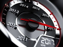 ταχύμετρο αυτοκινήτων έτους του 2017 Έννοια αντίστροφης μέτρησης Στοκ Εικόνα