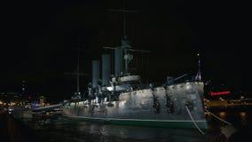 Ταχύπλοο σκάφος αυγής τη νύχτα βρόχος φιλμ μικρού μήκους