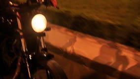 Ταχύτητες μοτοσικλετών κινηματογραφήσεων σε πρώτο πλάνο κατά μήκος του οδικού εμποδίου ασφάλτου απόθεμα βίντεο