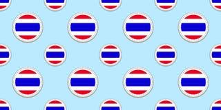 Ταϊλάνδη γύρω από το άνευ ραφής σχέδιο σημαιών Υπόβαθρο του Σιάμ Διανυσματικά εικονίδια κύκλων Γεωμετρικά σύμβολα Σύσταση για τις διανυσματική απεικόνιση