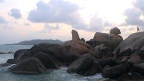 Ταϊλάνδη, Ko Samui, Hin TA και Hin Yai, παραλία Lamai απόθεμα βίντεο