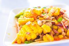 Ταϊλανδικά τρόφιμα - σαλάτα καλαμποκιού με τις μικτές ξηρές γαρίδες ή ξηρά αλατισμένη ίδια papaya γαρίδων σαλάτα ή SOM tum Ταϊλαν Στοκ εικόνα με δικαίωμα ελεύθερης χρήσης
