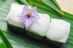 Ταϊλανδική ζελατίνα με την κρέμα καρύδων στο πράσινο φύλλο μπανανών Στοκ Φωτογραφίες