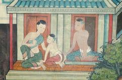 Ταϊλανδική ζωγραφική τέχνης στον τοίχο στο ναό. Στοκ Εικόνες