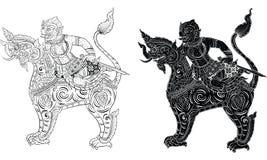 Ταϊλανδική παραδοσιακή δερματοστιξία, ταϊλανδική παραδοσιακή ζωγραφική στο διάνυσμα ναών ελεύθερη απεικόνιση δικαιώματος