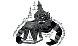Ταϊλανδική παραδοσιακή δερματοστιξία, ταϊλανδικό yantra διανυσματική απεικόνιση