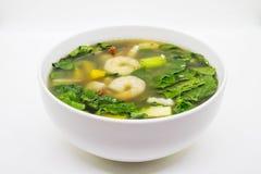 Ταϊλανδική πικάντικη μικτή φυτική σούπα με τις γαρίδες Στοκ Εικόνα