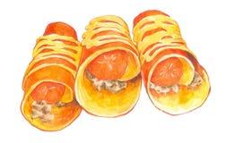 Ταϊλανδική τηγανίτα Watercolor με το λουκάνικο στοκ φωτογραφίες με δικαίωμα ελεύθερης χρήσης