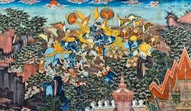 Ταϊλανδική τοιχογραφία Στοκ φωτογραφία με δικαίωμα ελεύθερης χρήσης